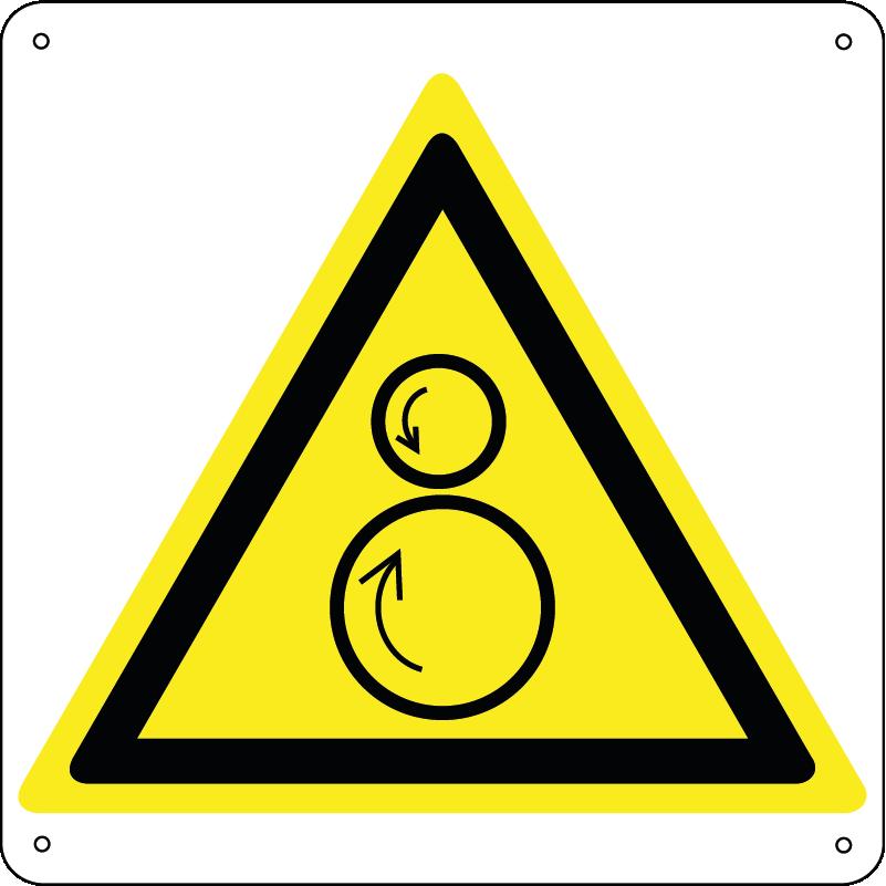 Attenzione rulli rotanti / Pericolo di trascinamento quadrato