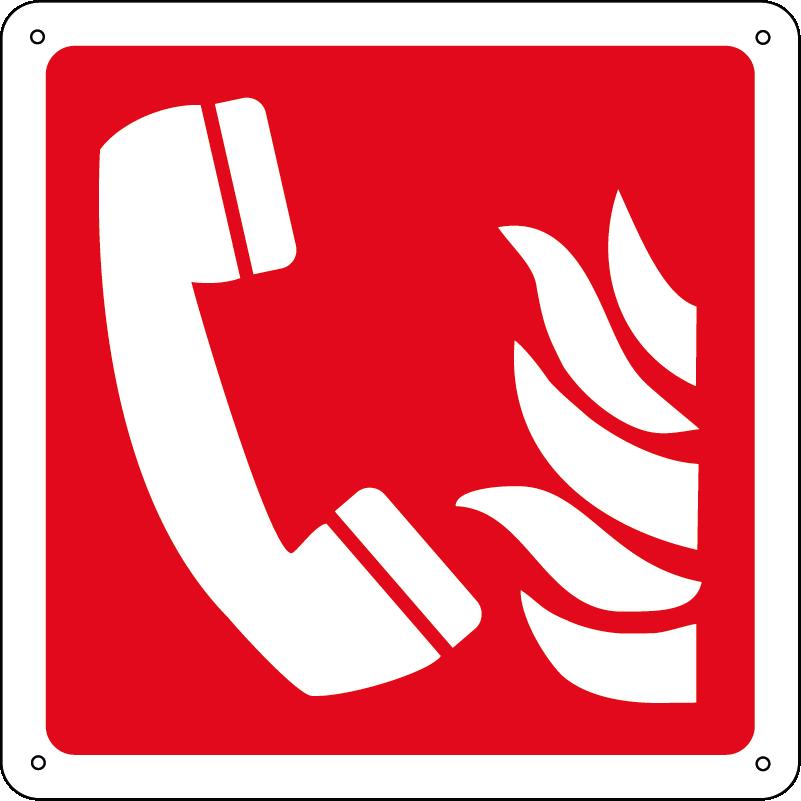 Telefono emergenza incendio quadrato