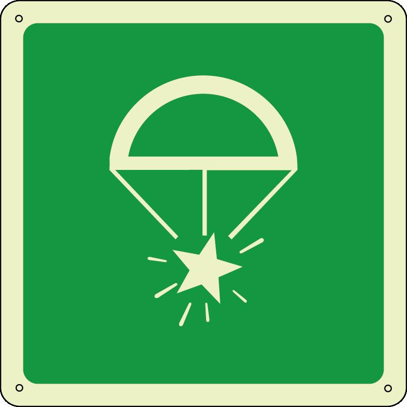 Razzo paracadute - Rocket parachute flares quadrato luminescente