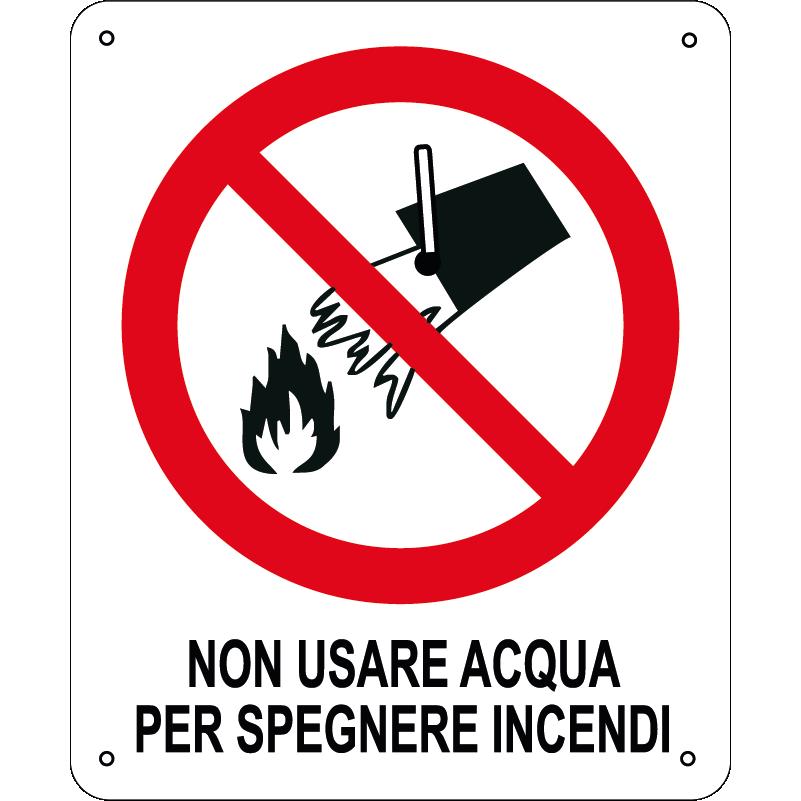 Non usare acqua per spegnere incendi verticale