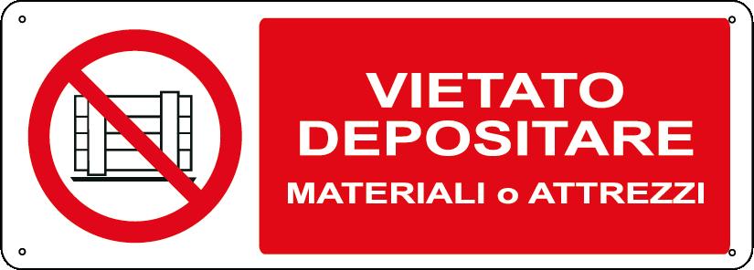 Vietato depositare materiali o attrezzi orizzontale