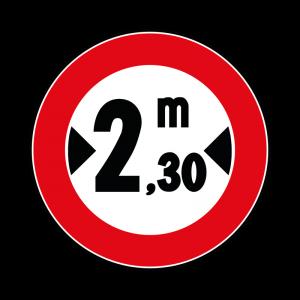 00000065 - Segnali di limitazioni alle dimensioni e alla massa dei veicoli - Divieto di transito ai veicoli aventi larghezza superiore a 2,30 m - Figura 65