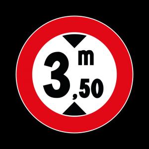 00000066 - Segnali di limitazioni alle dimensioni e alla massa dei veicoli - Divieto di transito ai veicoli aventi altezza superiore a 3,50 m - Figura 66