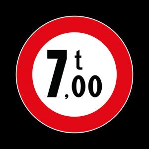00000068 - Segnali di limitazioni alle dimensioni e alla massa dei veicoli - Divieto di transito ai veicoli aventi massa superiore a 7,00 t - Figura 68