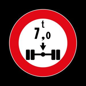 00000069 - Segnali di limitazioni alle dimensioni e alla massa dei veicoli - Divieto di transito ai veicoli avente peso per asse superiore a 7,00 t - Figura 69