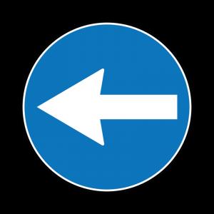 00000080b - Segnale di obbligo generico - Direzione obbligatoria a sinistra - Figura 80b