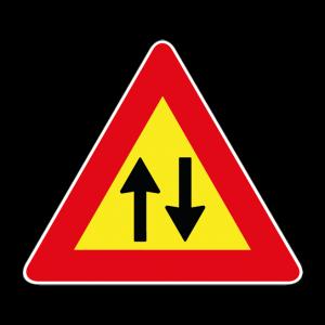 00000387 - Segnale di pericolo temporaneo - Doppio senso di circolazione - Figura 387