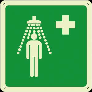 Doccia di emergenza quadrato luminescente