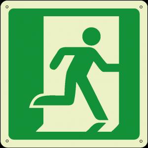 Uscita di emergenza a destra quadrato luminescente