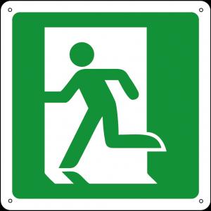 Uscita di emergenza a sinistra quadrato