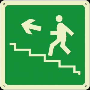 Uscita di emergenza salita a sinistra quadrato luminescente