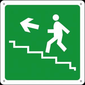 Uscita di emergenza salita a sinistra quadrato