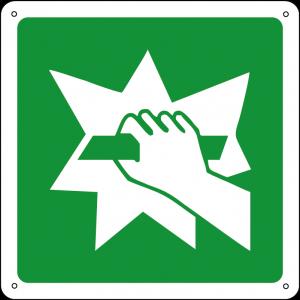 Rompere in caso di emergenza quadrato