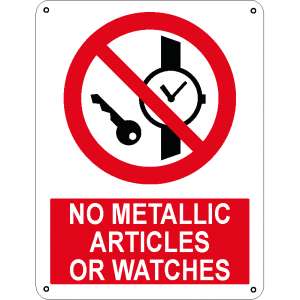 No metallic articles or watches
