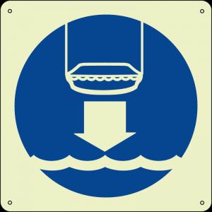 Calare scialuppa di salvataggio in acqua - Lower lifeboat to water quadrato luminescente