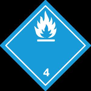 Classe 4 - Materie che, a contatto con l'acqua, sviluppano gas infiammabili - bianca