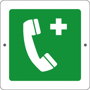 Targa in Plex Quadrata - Emergenza - Telefono di emergenza