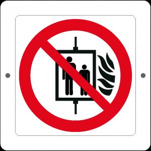 Targa in Plex Quadrata - Divieto - Vietato l'uso dell'ascensore in caso d'incendio