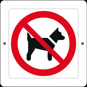 Targa in Plex Quadrata - Divieto - Vietato l'accesso ai cani