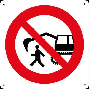 Vietato fermarsi-passare nel raggio dell'escavatore quadrato