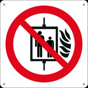 Vietato l'uso dell'ascensore in caso d'incendio quadrato