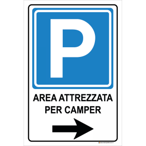 Parcheggio freccia sinistra - Area attrezzata per camper