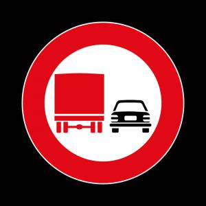00000052 - Segnale di divieto specifico - Divieto di sorpasso per veicoli di massa a pieno carico oltre 3,5 t - Figura 52