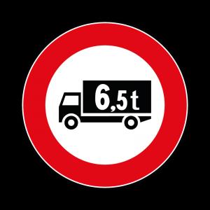 00000060b - Segnale di divieto specifico - Divieto di transito ai veicoli che trasportano merci con massa autorizzata a pieno carico superiore oltre le 6,5 t - Figura 60b