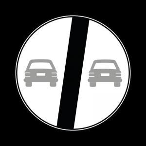 00000072 - Segnale che indica la fine di un divieto - Fine del divieto di sorpasso - Figura 72