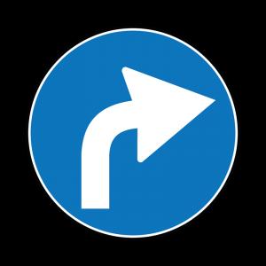 00000080d - Segnale di obbligo generico - Preavviso di direzione obbligatoria a destra - Figura 80d