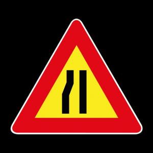 00000385 - Segnale di pericolo temporaneo - Strettoia asimmetrica a sinistra - Figura 385