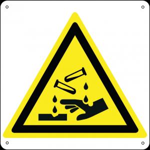 Pericolo sostanze corrosive quadrato