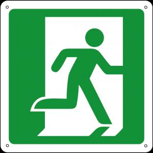 Uscita di emergenza a destra quadrato