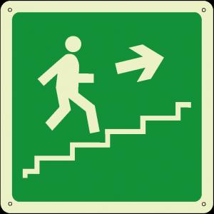 Uscita di emergenza salita a destra quadrato luminescente