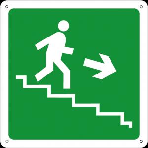 Uscita di emergenza discesa a destra quadrato
