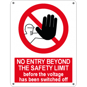 No entry beyond the safety limit before the voltage has been switched off