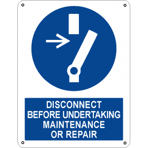 Disconnect before undertaking maintenance or repair