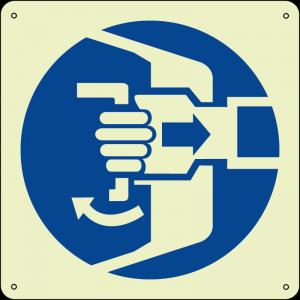 Assicurarsi che il portello sia ben chiuso - Secure hatches quadrato luminescente