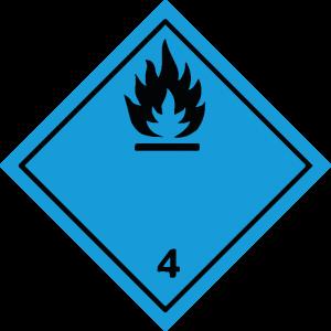 Classe 4 - Materie che, a contatto con l'acqua, sviluppano gas infiammabili - nera
