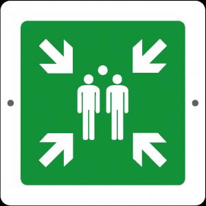 Targa in Plex Quadrata - Emergenza - Punto di ritrovo