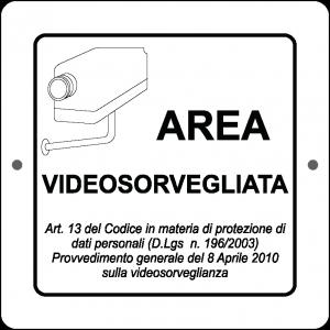 Targa in Plex Quadrata - Videosorveglianza - Area Videosorvegliata