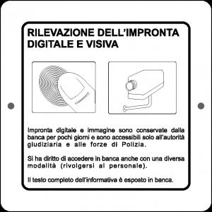 Targa in Plex Quadrata - Videosorveglianza - Rilevazione dell'impronta digitale e visiva