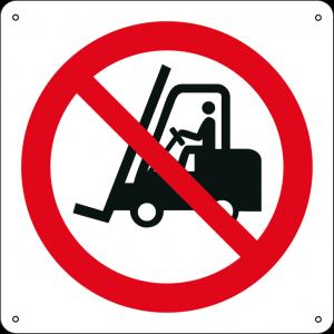 Vietato l'accesso ai carrelli elevatori e altri veicoli industriali quadrato