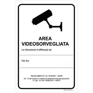 Area videosorvegliata - La rilevazione è effettuata da [...]