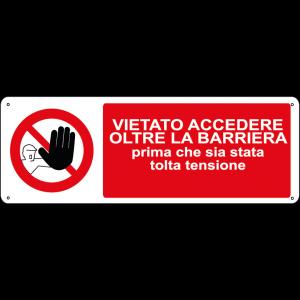 Vietato accedere oltre la barriera prima che sia stata tolta tensione orizzontale