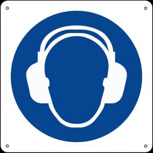 Obbligatorio indossare la protezione dell'udito quadrato