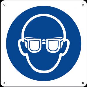 Obbligatorio indossare la protezione degli occhi quadrato